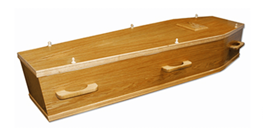 Simple wooden coffin in oak venner from FSC certified materials